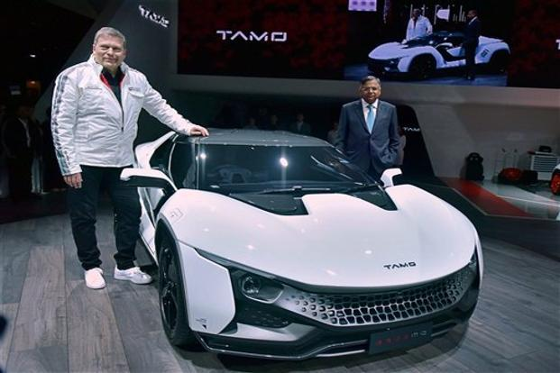 Tata Motors CEO Guenter Butschek (left) and Tata Sons chairman N. Chandrasekaran with the Tamo Racemo sportscar in Geneva. Photo: PTI