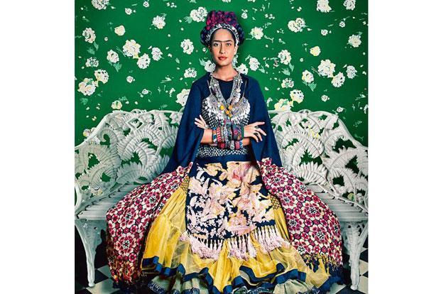 For the Kahlo series, Chawla made the artist's self-portraits his own by blending her Mexican sartorial style with Indian prints with the help of designer Sabyasachi Mukherjee.