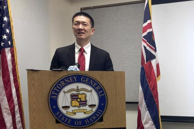 Hawaii attorney general Doug Chin speaks at a news conference in Honolulu announcing the state of Hawaii has filed a lawsuit challenging President Donald Trump's travel ban. Photo: AP