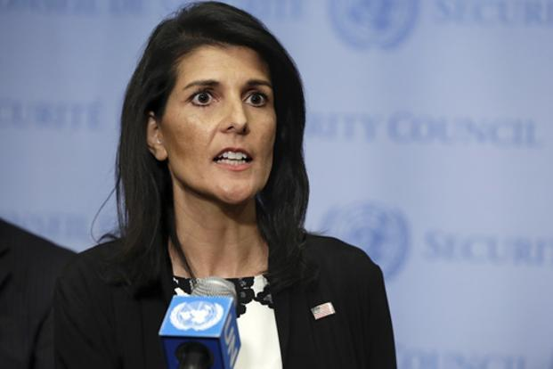 US ambassador to the United Nations Nikki Haley also defended the upcoming deployment of a US missile defence system in South Korea. Photo: AP
