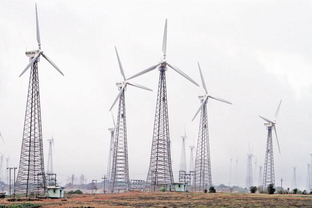 Wind and solar power tariffs have hit an all time low of Rs3.46 per kilowatt hour (kWh) and Rs2.97 per kWh respectively. Photo: Bloomberg