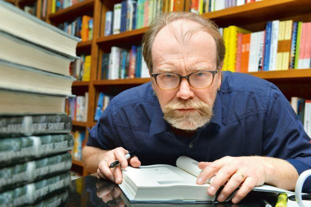 George Saunders with his new release at a book signing in Florida. Photo: Johnny Louis