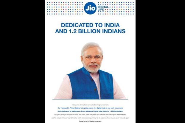 Full-page advertisements 'Reliance Jio: Digital Life' were published with a photograph of Prime Minister Narendra Modi, triggering a political controversy.