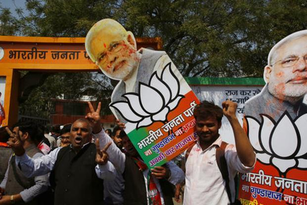 BJP cadre upbeat over exit poll predictions in UP