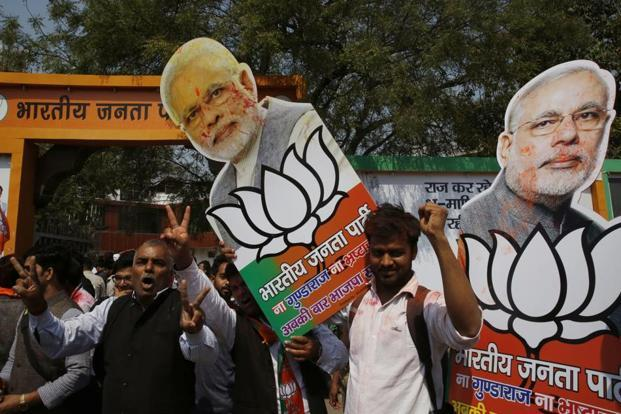 The victory in Uttar Pradesh elections will signal that the vision of a resurgent Bharat, which is at the heart of the BJP's agenda and which was how Narendra Modi packaged demonetisation, seems to be paying off. Photo: Rajesh Kumar Singh/AP