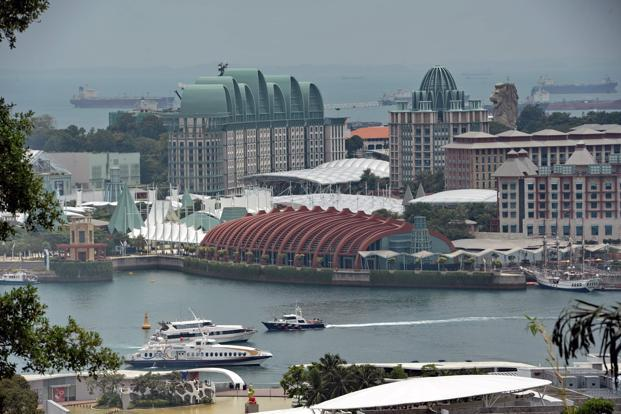A general view of hotels and entertainment park at Resort World Sentosa off Singapore.  Photo: AFP