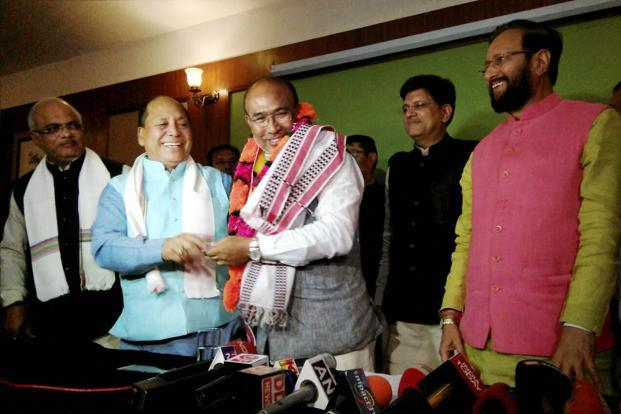 The Congress has emerged as the single largest party with 28 seats in the assembly elections 2017 and, had also staked claim to form government. But, Biren Singh-led BJP coalition reportedly produced a list of 32 MLAs to governor Najma Heptulla. Photo: PTI