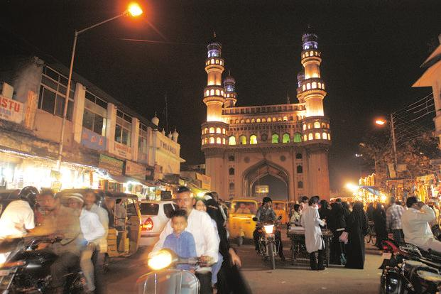 File photo. A view of the Charminar during Ramadan festival in Hyderabad. Hyderabad is down five ranks from last year's 139 in the Mercer 2017 Quality of Living Index.