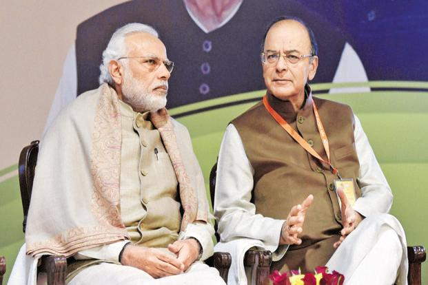 Prime minister Narendra Modi and finance minister Arun Jaitley. Photo: PTI