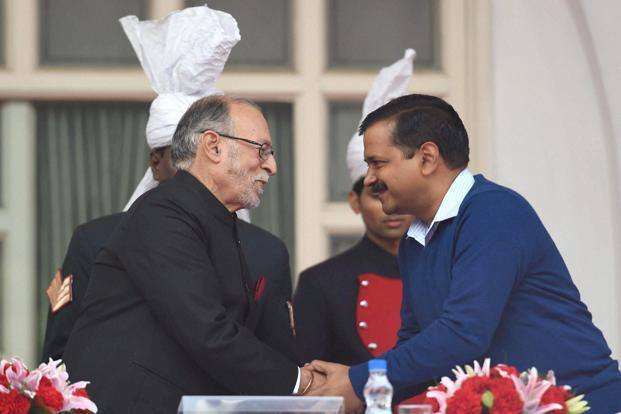 A file photo of Lieutenant Governor Anil Baijal with Delhi chief minister Arvind Kejriwal.  The Lt Governor conveyed to the Delhi Government that the rules will have to be amended for shunning the EVMs and it was not possible to make the changes as little over a month is left for the polls. Photo: PTI