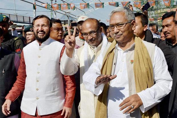 After Assam and Arunachal Pradesh, Manipur becomes the third state with a BJP government after Prime Minister Narendra Modi scripted a landslide victory in 2014. Photo: PTI