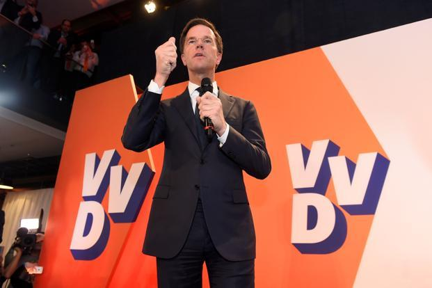 Netherlands' prime minister and VVD party leader Mark Rutte delivers a speech after winning the general elections in The Hague on Wednesday. Photo: AFP