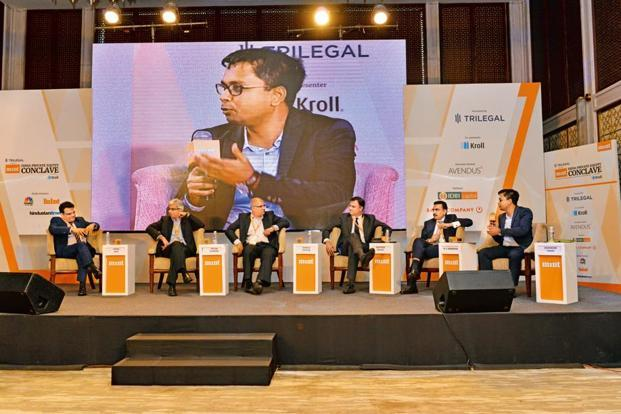 (From left) Nitin Jain, CEO (Global Asset and Wealth Management) at Edelweiss Financial Services; Neeraj Gambhir, MD and head (fixed income) at Nomura India; Pankaj Thapar, CFO at Indostar Capital Finance; Kalpesh Kikani, MD and senior partner at AION Capital; B.V. Krishnan, head of KKR India's capital markets and third party credit investing business; and Mint's Deborshi Chaki at the Mint India Private Equity Conclave 2017 in Mumbai. Photo: Aniruddha Chowdhury/Mint