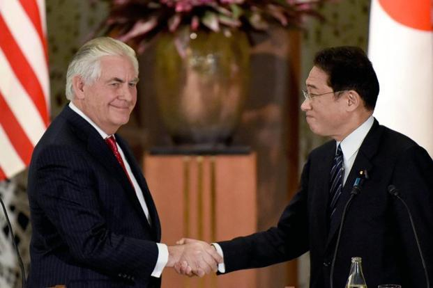US secretary of state Rex Tillerson meets Japanese foreign minister Fumio Kishida during his first tour in Asia.  Photo: Bloomberg