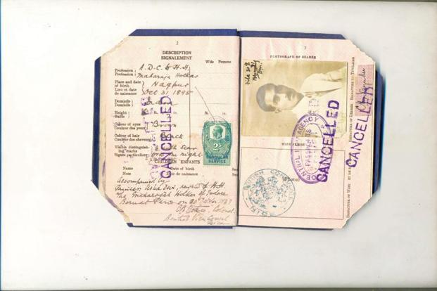 The cancelled passport of India's first Test cricket captain, C.K. Nayudu.