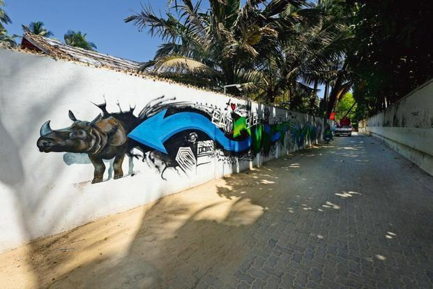 A painted outer wall. Photo: Abhijit Bhatlekar/Mint