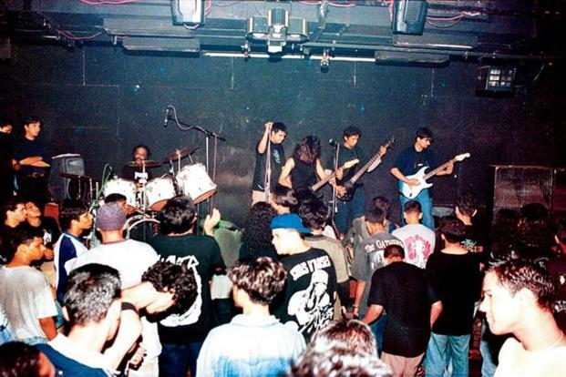 A file photo of  a band performing at the club before it closed.