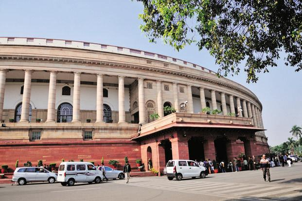 Rajya Sabha deputy chairman adjourned the House till noon after the Congress members stormed into the Well of the House raising slogans against murder of democracy in Goa. Photo: PTI