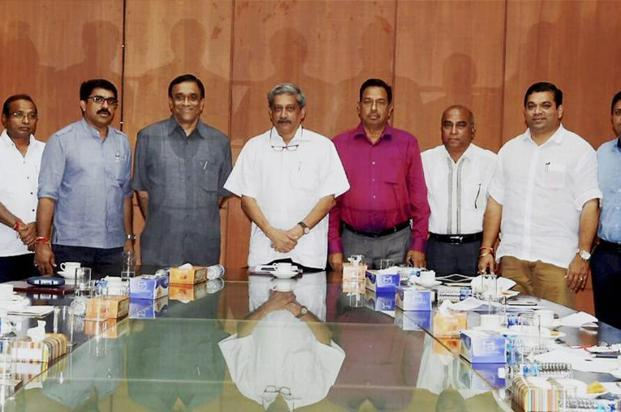 Goa chief minister Manohar Parrikar chairing the first state cabinet meeting in Porvorim on Friday. Photo: PTI