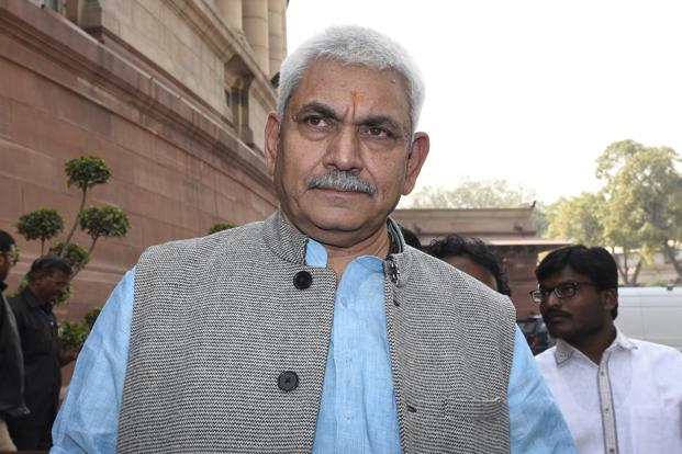 A file photo of Union minister Manoj Sinha. The new UP chief minister is likely to be picked at a meeting of newly elected BJP MLAs on Saturday.  Photo: Hindustan Times