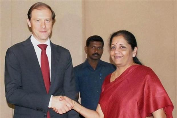 MoS for commerce & industry, Nirmala Sitharaman with minister of industry and trade of the Russian Federation, Denis Manturov in a meeting in Chennai on Thursday. Photo: PTI