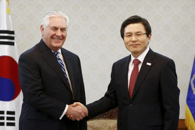 US secretary of state Rex Tillerson shakes hands with acting South Korean Prime Minister Hwang Kyo-ahn prior to their meeting at the government complex in Seoul, South Korea on Friday. Photo: AFP