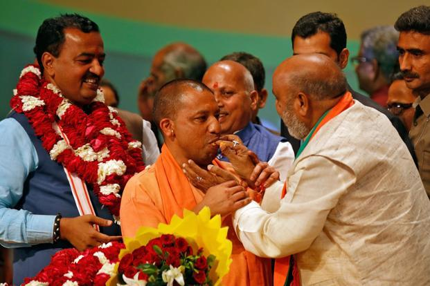 Uttar Pradesh chief minister Yogi Adityanath is a strong proponent of the Ram Mandir issue, has floated a Hindu Yuva Vahini and is known for controversial agendas such as Love Jihad and Kairana Hindu. Photo: Reuters