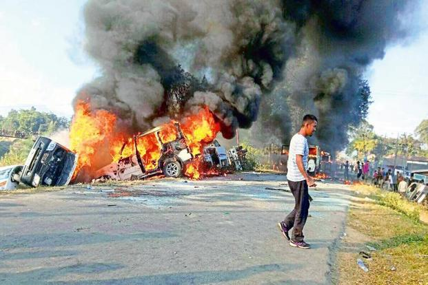 The Manipur blockade was imposed by the United Naga Council on 1 November to protest the creation of seven new districts by the Okram Ibobi Singh-led Congress government. Photo: AFP