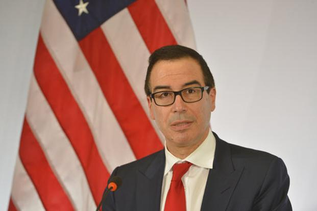 US treasury secretary Steven Mnuchin speaks at a news conference during the G20 finance ministers meeting in Baden-Baden, Germany on Friday. Photo: AP