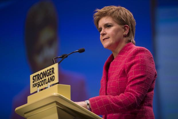 Nicola Sturgeon expects to get authorisation from the devolved Scottish parliament on Wednesday to seek the terms for a new secession vote. Photo: Bloomberg