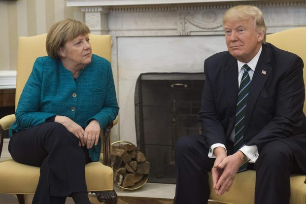 Donald Trump's messages came less than a day after Angela Merkel, at their joint White House press conference, tweaked Trump about his criticisms of her and others on social media. Photo: AFP