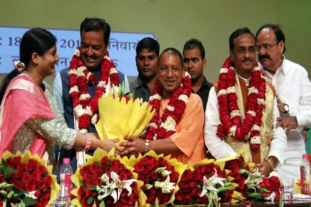 Yogi Adityanath was sworn in as the Uttar Pradesh chief minister at an open-air ceremony in Lucknow on Sunday. Photo: AFP
