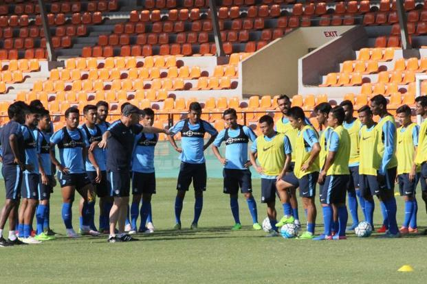 The Indian football team at a training camp in Mumbai last week, in preparation for their AFC qualifiers.