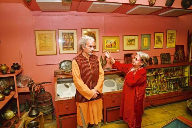 Baij Nath Aryan with his siter Subhashini at their residence-cum-museum. Photographs: Ramesh Pathania/Mint