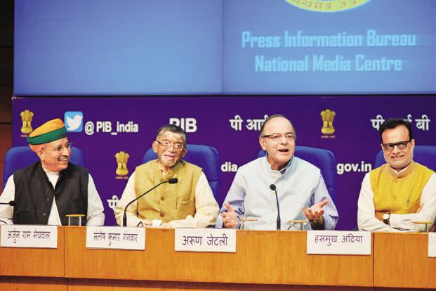 (From left) Arjun Meghwal, Santosh Gangwar, Arun Jaitley and Hasmukh Adhia. Photo: Pradeep Gaur/Mint
