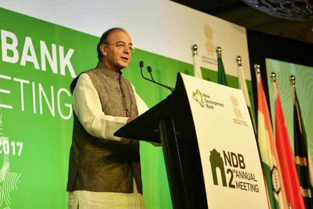 Finance minister Arun Jaitley addressing the 2nd annual meeting  of New Development Bank in New Delhi. Photo: Ramesh Pathania/Mint