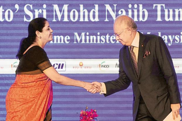 Commerce minister Nirmala Sitharaman and Malaysian Prime Minister Najib Razak at the India-Malaysia Business Forum event in New Delhi on Monday. Photo: AFP
