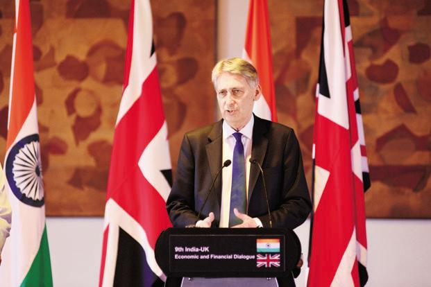 British Chancellor of the Exchequer Philip Hammond hinted that strengthening ties with UK may fulfil India's appetite for investments, particularly in infrastructure. Photo: Pradeep Gaur/Mint