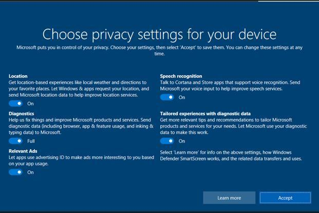 Windows 10 will now get reconfigured privacy settings options, around the type of data that Microsoft logs and collects from your PC.