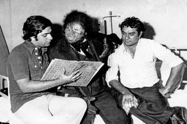 Tulsi (left) and Shyam Ramsay with one of their monsters during the production of 'Dahshat'.