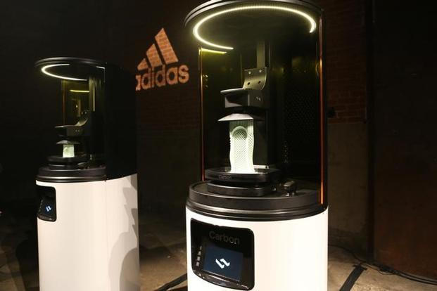 Carbon 3D printing machines are seen at an unveiling event for the new Adidas Futurecraft shoe in New York. Photo: Reuters