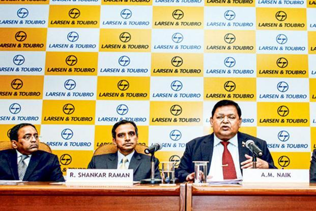 A file photo of S.N. Subrahmanyan (left) with R. Shankar Raman, chief financial officer, and A.M. Naik, group executive chairman of Larsen and Toubro. Photo: Bloomberg