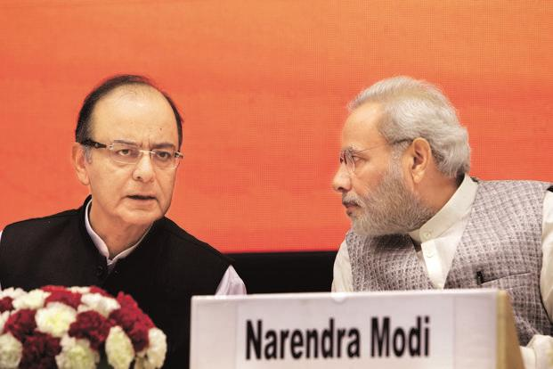 Prime Minister Narendra Modi (right) and finance minister Arun Jaitley. Photo: Bloomberg