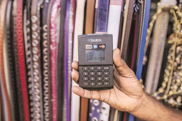 An Mswipe mobile PoS device. Credit and debit card transactions at PoS terminals saw a 106% year over year growth in December 2016, according to RBI. Photo: Bloomberg