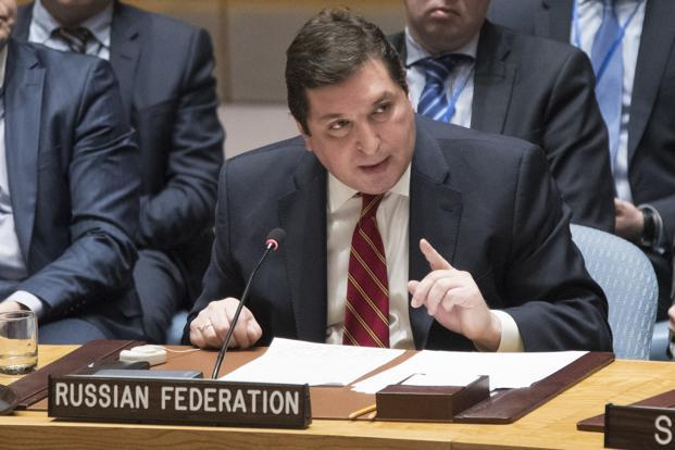 Russia's deputy UN ambassador Vladimir Safronkov speaks during a Security Council meeting on the situation in Syria on 7 April 2017 at United Nations headquarters. Photo: AP