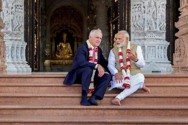 Prime Minister Narendra Modi and his Australian counterpart Malcolm Turnbull during their visit to the Akshardham Temple in New Delhi on Monday. Photo: PTI