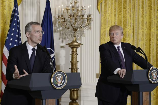 NATO secretary general Jens Stoltenberg and US President Donald Trump during a joint press conference in the White House Washington DC on Wednesday