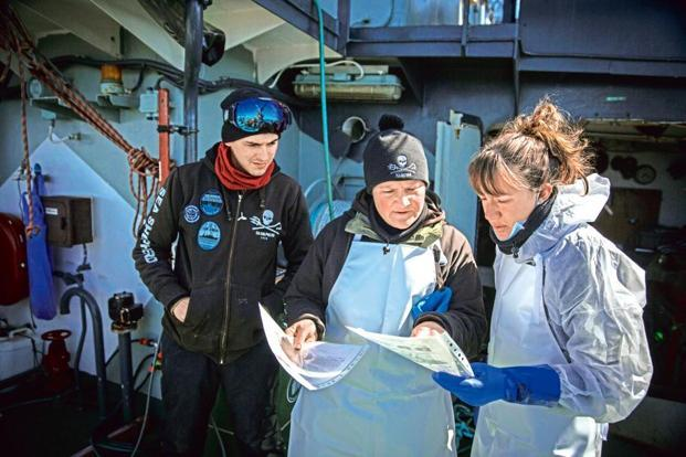 Scientists reviewing protocols before the start of the dissection process. Photo: Sea Shepherd Global/Jeff Wirth