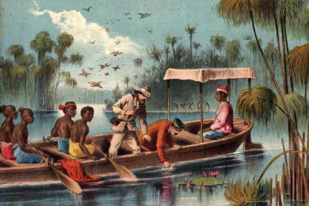 A painting of Henry Stanley and David Livingstone on the Ruzizi river in central Africa in 1871. Photo: Hulton Archive/Getty Images