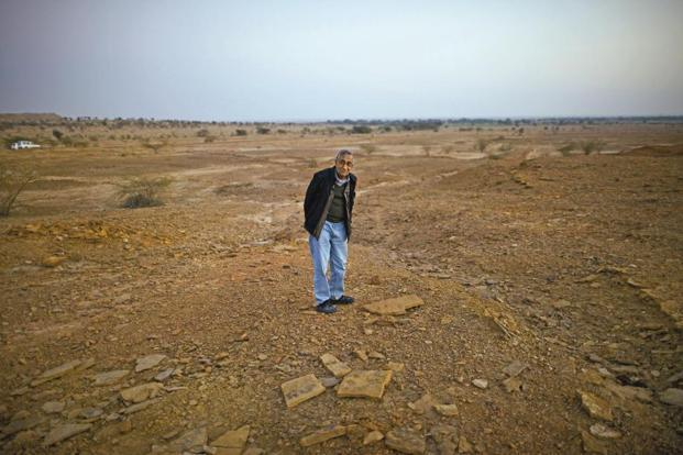Prof. Ashok Sahni after giving up the search for the dinosaur footprint near Thaiyat.